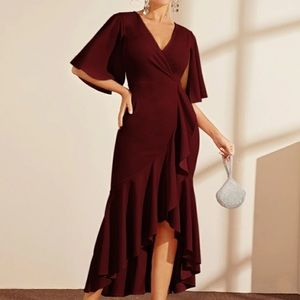 Burgundy High Low Dress